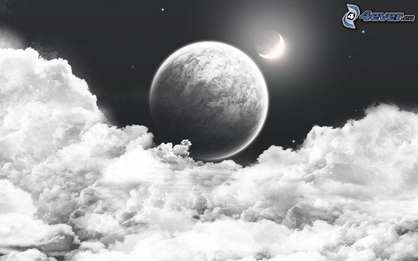 luna, nuvole