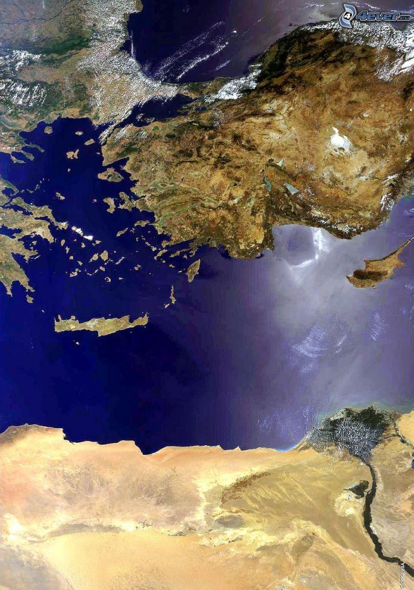 mar Mediterraneo, immagini satellitari, Turchia, mar Egeo, Cipro, Africa, Nilo