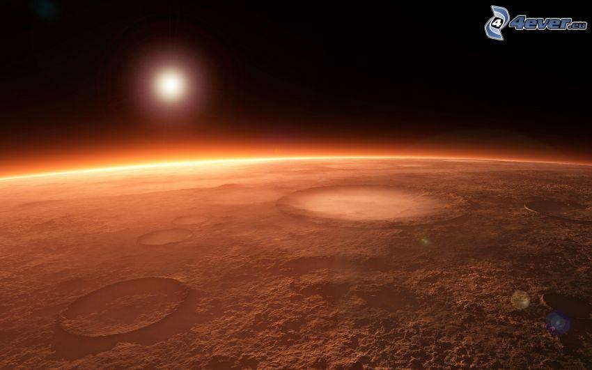 Mars, pianeta rossa, sole
