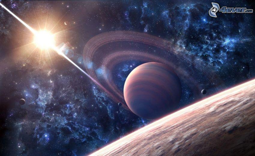 pianeta, sole, nebulose