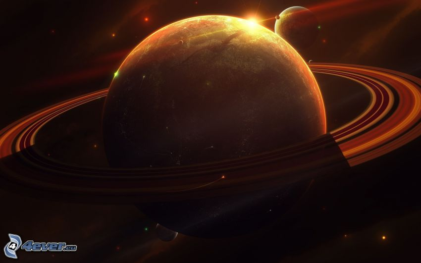 Saturn, pianeta, sole, stelle