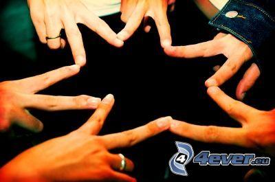 amicizia, stella, dito, mano