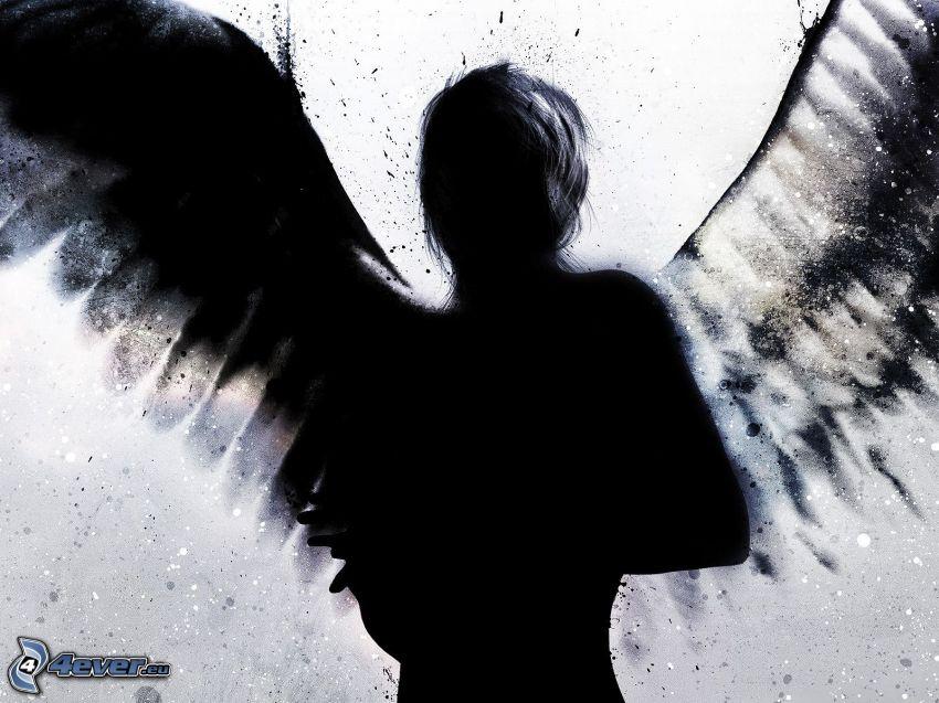 angelo nero, donna con le ali