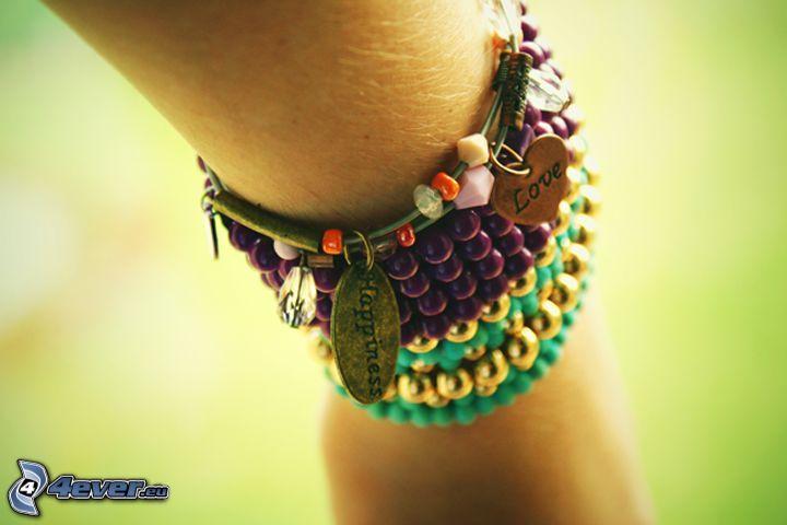 braccialetti, felicità, amore, mano