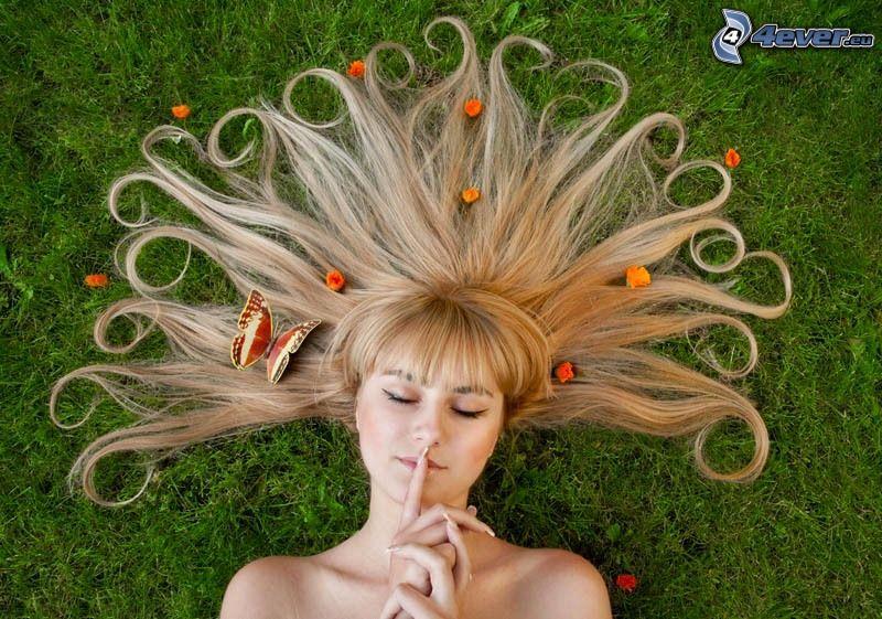 capelli, bionda, farfalla