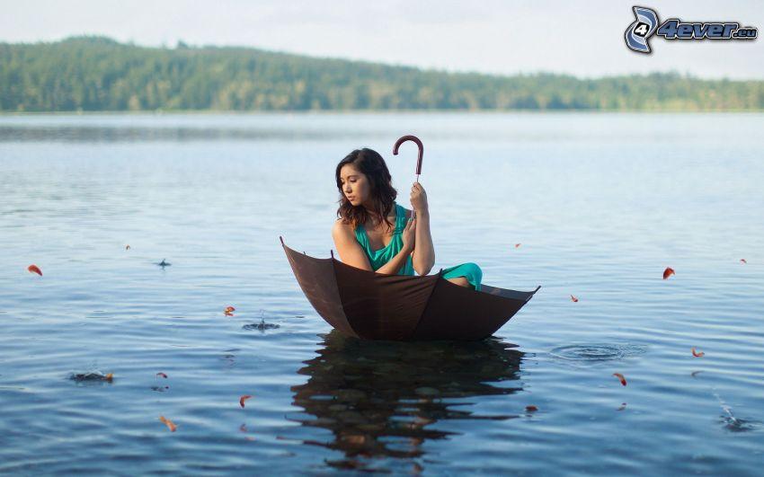 donna, bruna, ombrello, lago