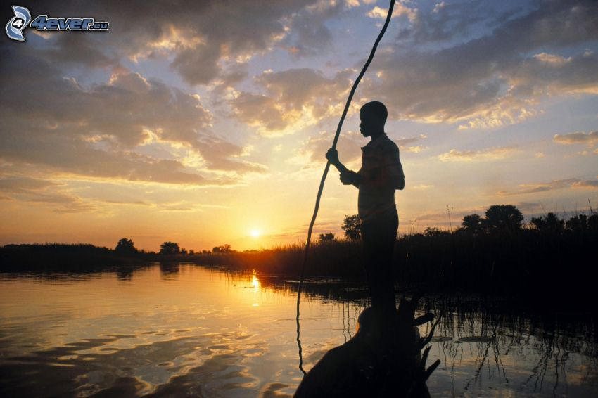 negro, caccia, il fiume, tramonto