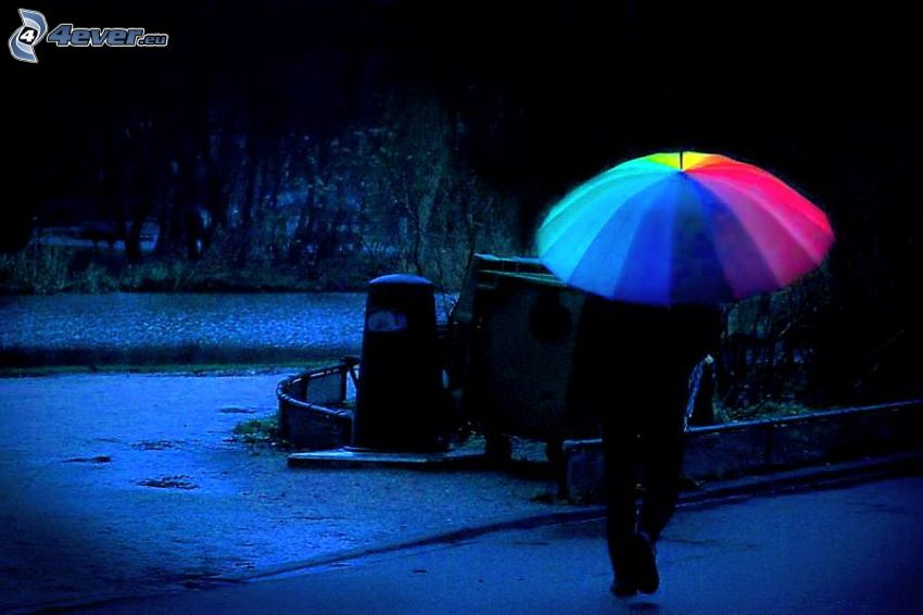 ombrello, colori di arcobaleno, parco