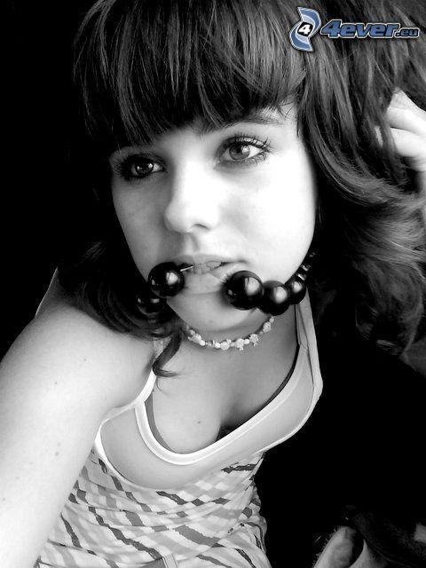 ragazza, frangia, perline