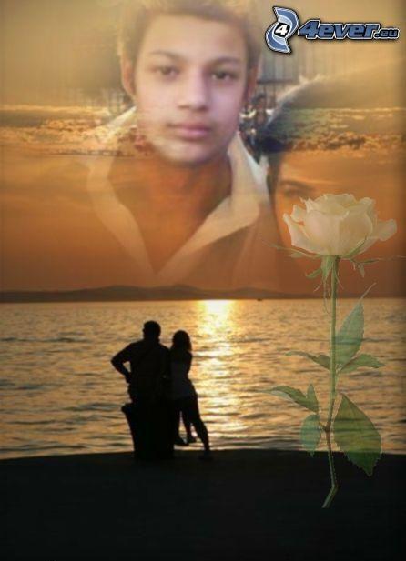 Viktor marucie, collage, tramonto, rosa, mare, spiaggia