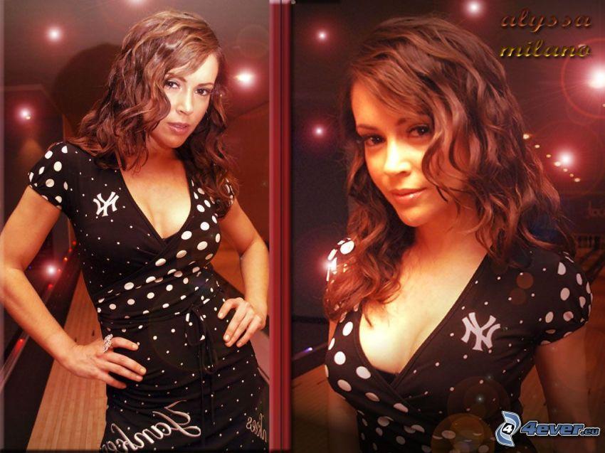 Alyssa Milano, attrice, Phoebe, Charmed, capelli castani, abito nero
