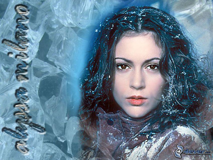Alyssa Milano, attrice, Phoebe, streghe, Charmed, capelli castani, ghiaccio