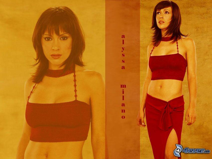 Alyssa Milano, attrice, Phoebe, streghe, Charmed, capelli castani, maglia, gonna, vestito rosso