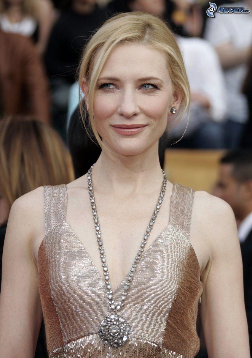 Cate Blanchett, collana, vestito d'oro