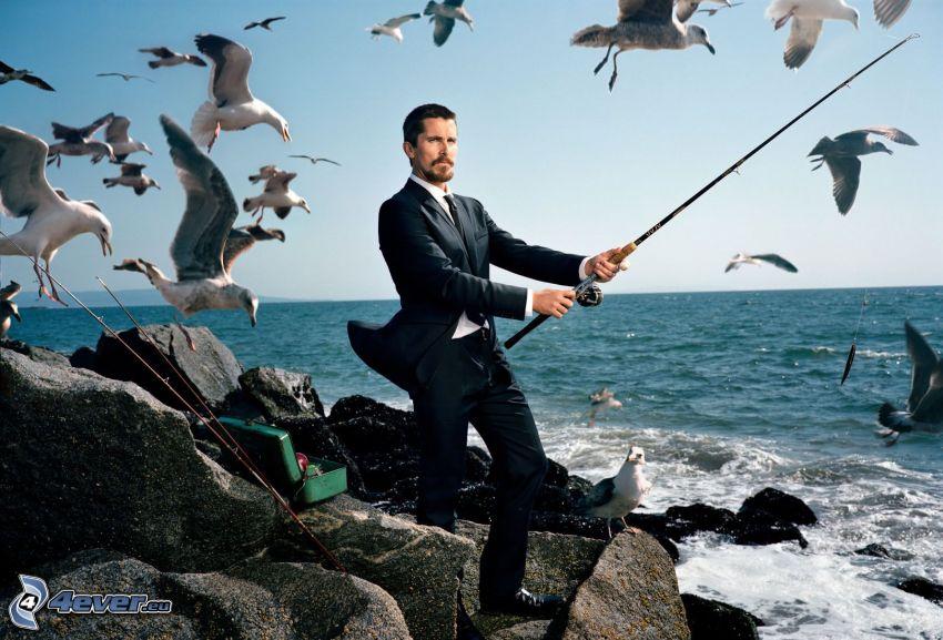 Christian Bale, gabbiani, mare, Pesca