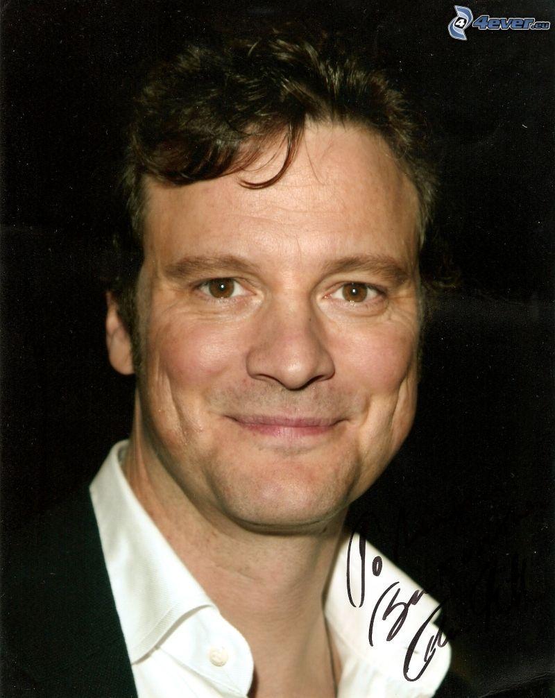 Colin Firth, sorriso, firma