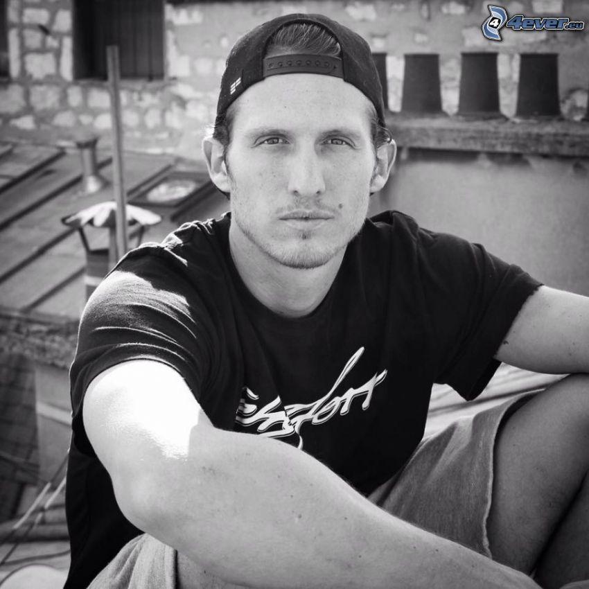 David Belle, berretto, foto in bianco e nero