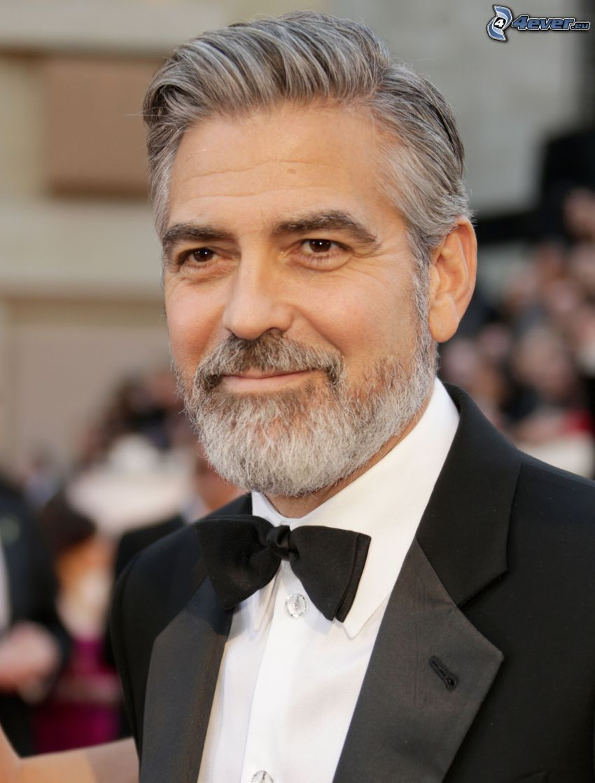 George Clooney, vibrissa, uomo in abito