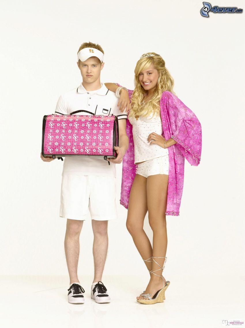 High School Musical 2, Lucas Grabeel, Ashley Tisdale, bionda, camicia da notte, ragazza sexy