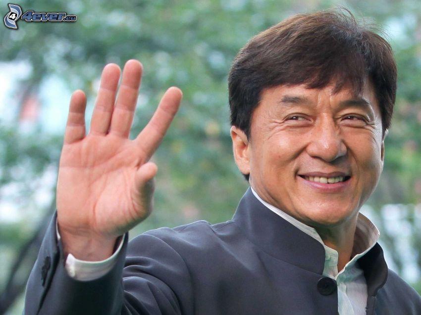 Jackie Chan, saluto, sorriso