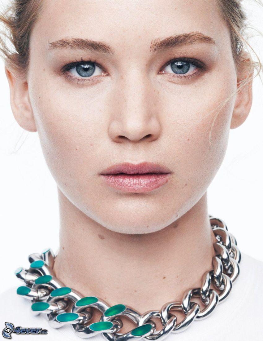 Jennifer Lawrence, faccia, collana