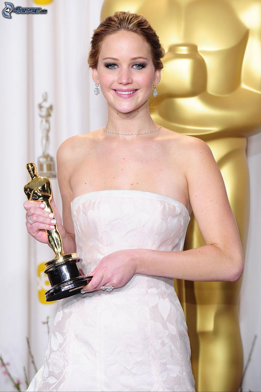 Jennifer Lawrence, oscar, abito bianco, sorriso