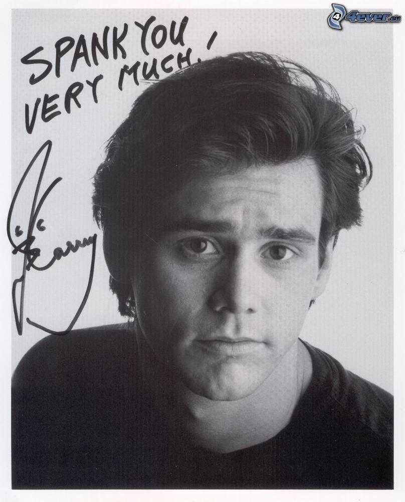 Jim Carrey, firma, foto in bianco e nero