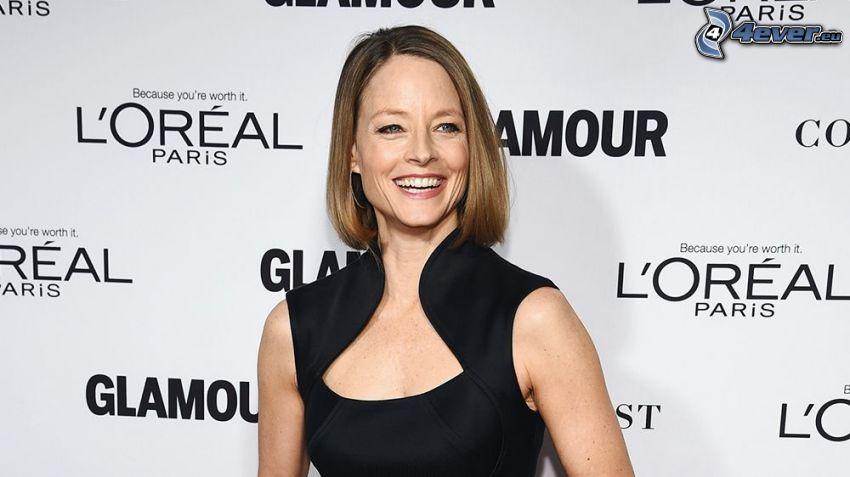 Jodie Foster, sorriso, abito nero
