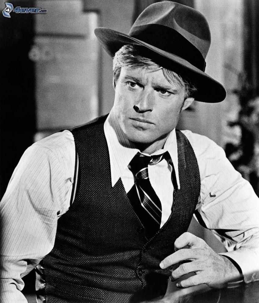 Robert Redford, un uomo in un cappello, foto in bianco e nero