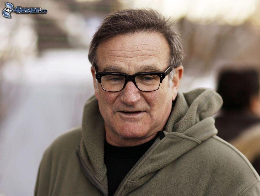 Robin Williams, uomo con gli occhiali, felpa