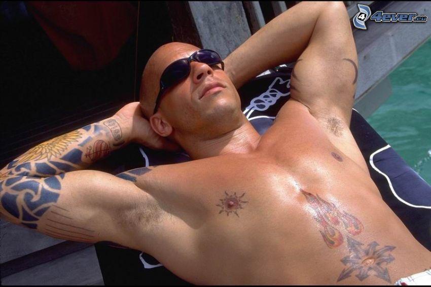 Vin Diesel, attore, tatuaggio, ragazzo muscoloso