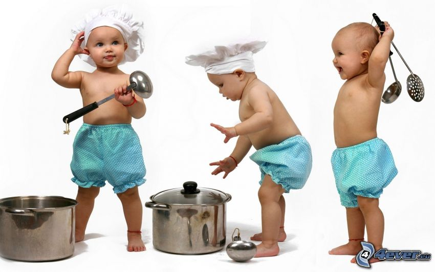 bambini, figli, cuoco