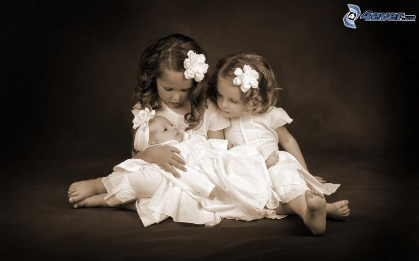 bambini, ragazze, bambino, bianco e nero