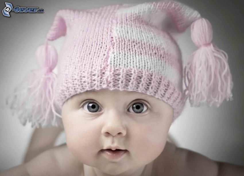 bambino, berretto, sguardo
