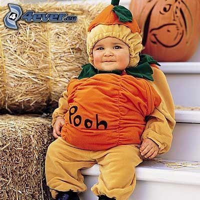 bambino, costume, pooh
