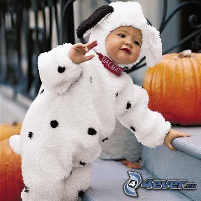 bambino, costume, Zucche