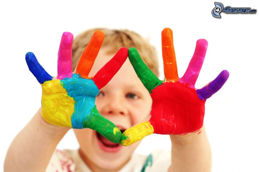 bambino, mani, colori