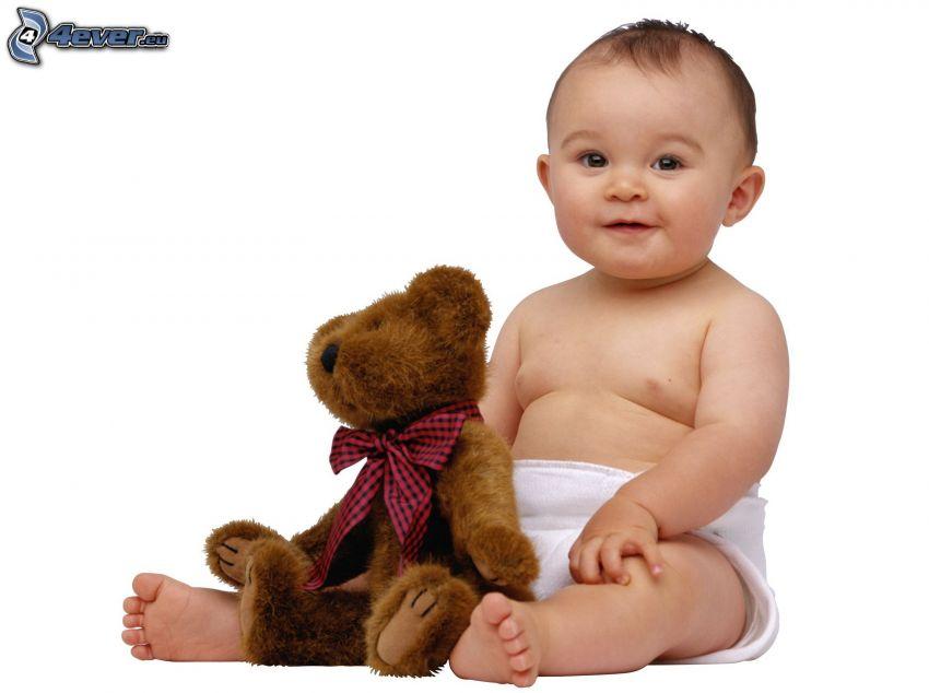 bambino, peluche teddy bear