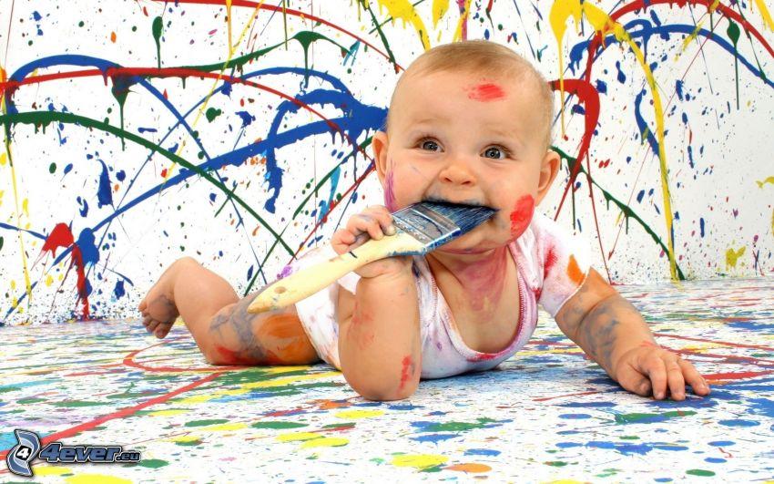 bambino, pennello, colori