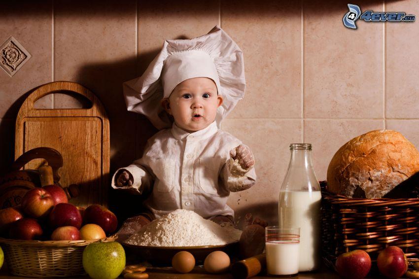 cuoco, bambino, farina, latte, mele, pane