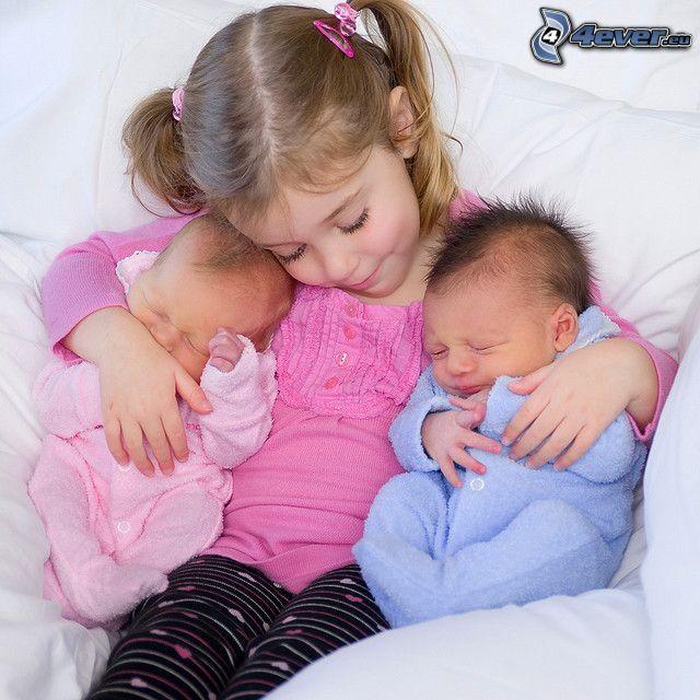 figli, ragazza, bambini, sonno