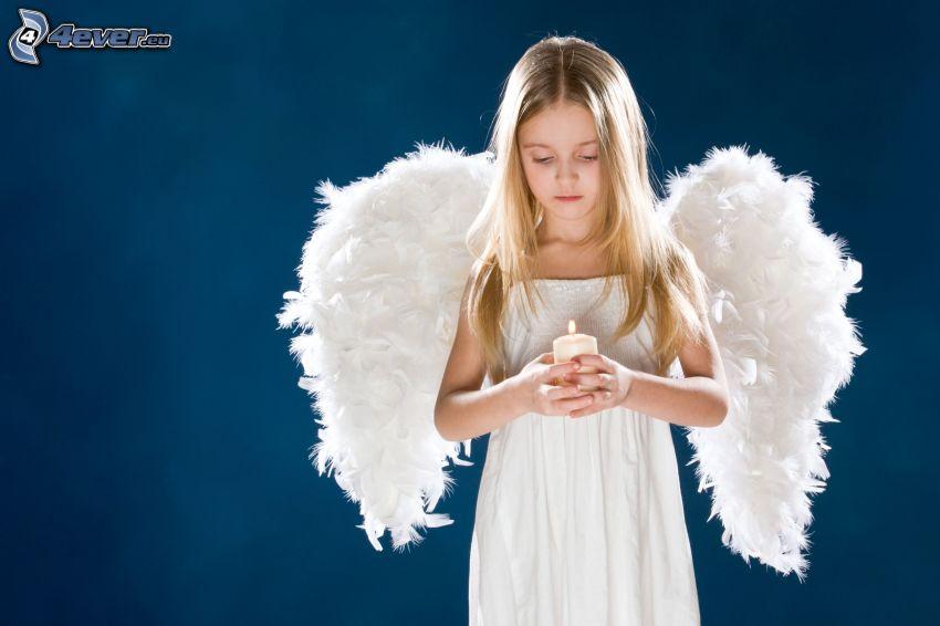ragazza, angelo, ali bianche, candela