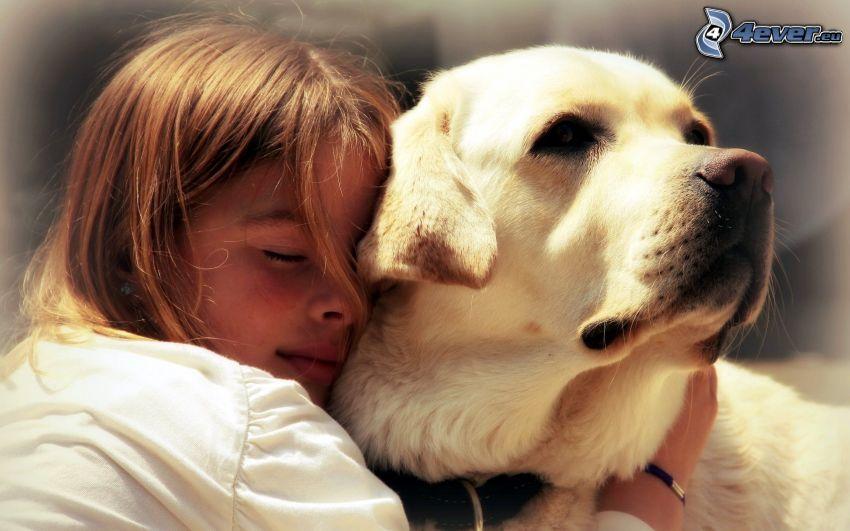 ragazza, cane, abbraccio