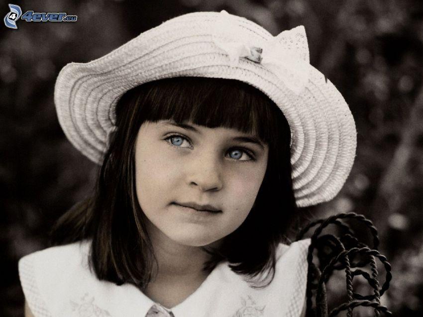 ragazza, cappello, foto in bianco e nero