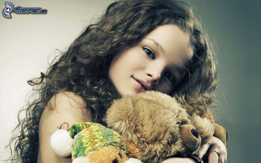 ragazza, peluche teddy bear