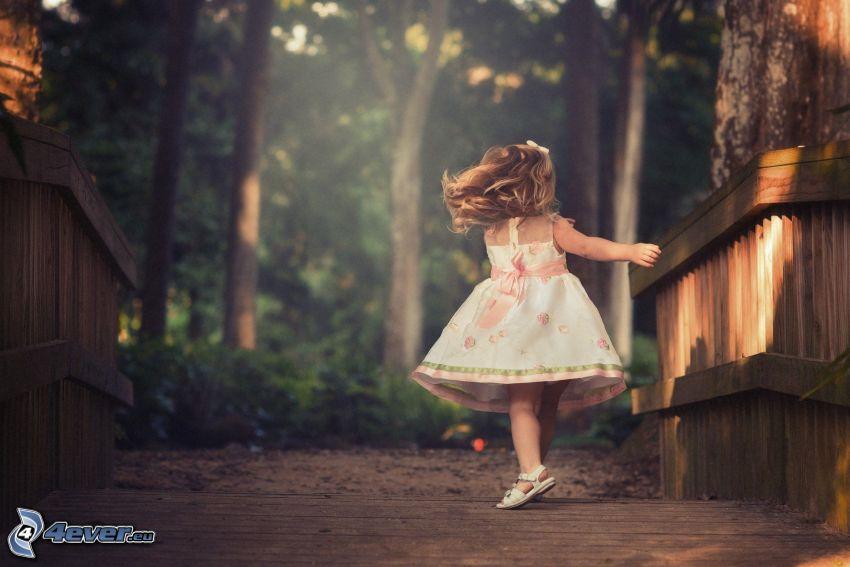 ragazza, ponte di legno nella foresta