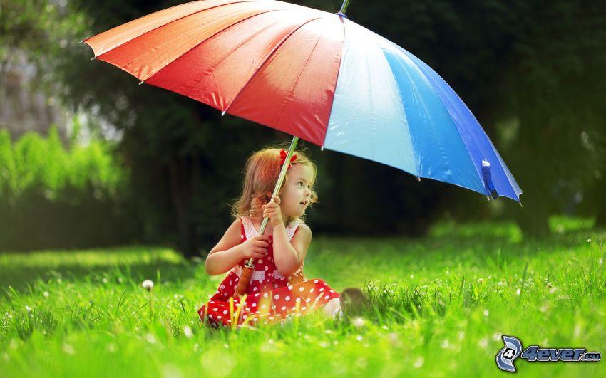 ragazza con l'ombrello, prato