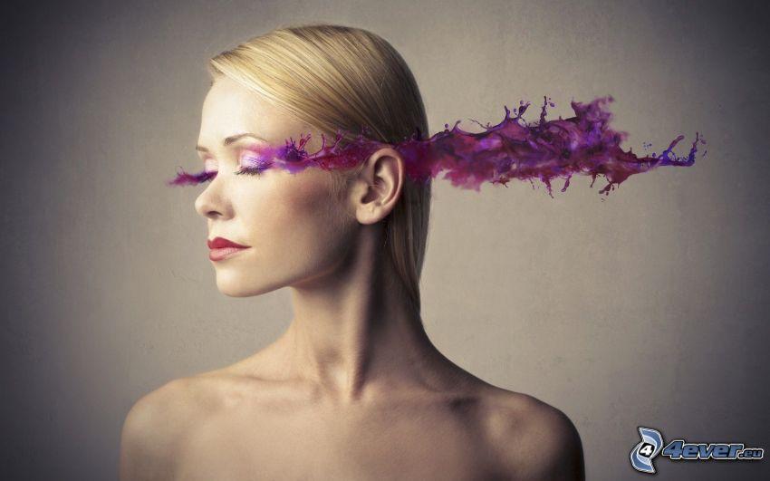 bionda, colore lilla