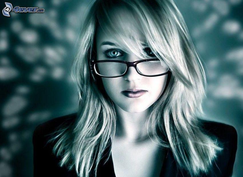 bionda, occhiali