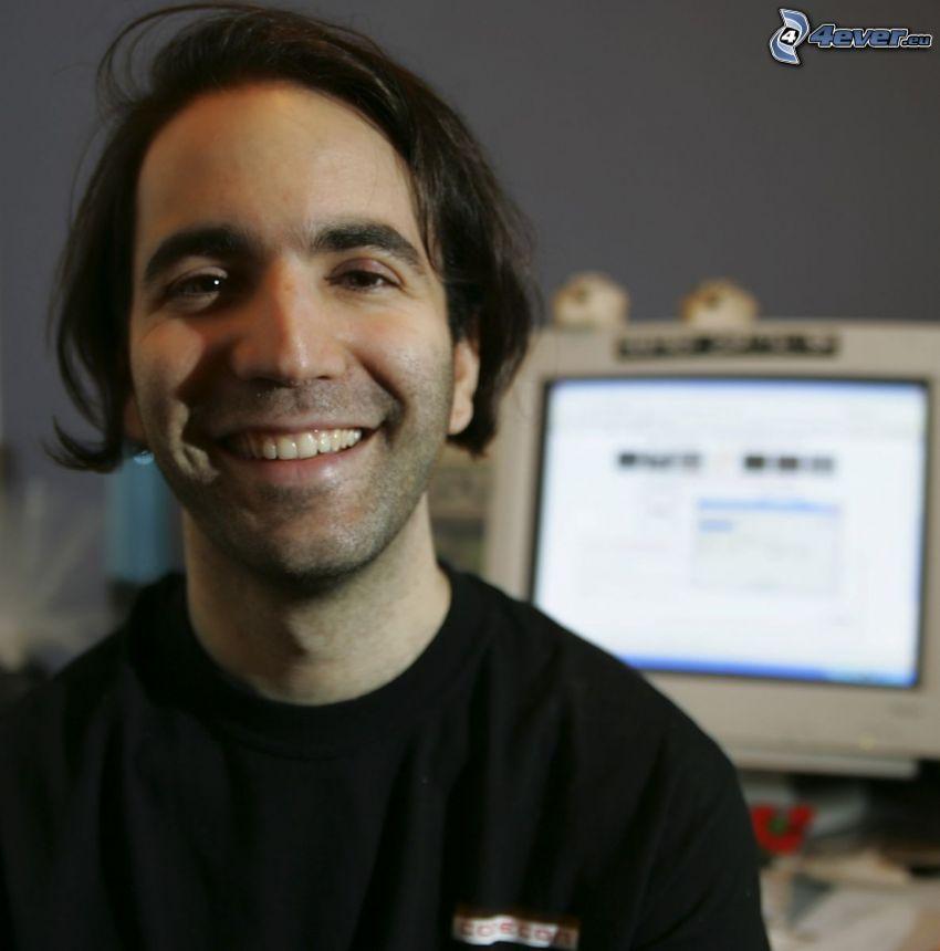 Bram Cohen, sorriso, computer